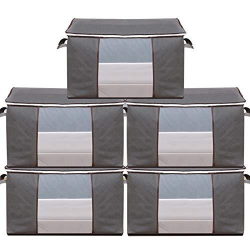 5 Paquete 105 L Bolsa de almacenamiento de ropa de gran capacidad de gran capacidad, con mango de refuerzo de ventana transparente, bolsa de almacenamiento de ropa para colcha, cubierta de edredón, ro