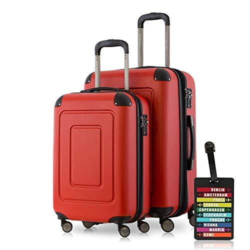 Happy Trolley - 2er Koffer-Set Trolley-Set Rollkoffer Hartschalen-Koffer Reisekoffer Lugano sehr leicht, TSA, (S+M), Rot + Design Kofferanhänger