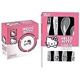 Hello Kitty Set für Mädchen: 3-teiliges Frühstücks-Geschirr aus Keramik & 4-teiliges Kinder-Besteck aus Edelstahl