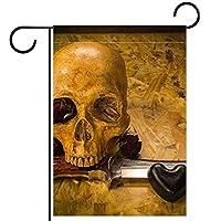 ガーデンフラッグヤードフラッグウェルカムフラッグハウスフラッグアウトドアフラッグホリデーパーティー季節を問わずデコレーション頭蓋骨とナイフラブスタイル