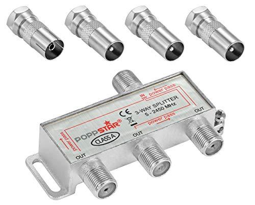 Poppstar Sat-Verteiler Antennenverteiler Splitter Umschalter 3-Fach inkl. IEC Stecker (analog/digital/BK/unicable/HD/4K tauglich) für TV,Antenne,Satellit,Kabel,Fernseher,Radio,LNB