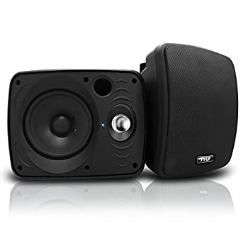 Outdoor Waterproof Wireless Bluetooth Speaker - 6.5 Inch Pair 2-Way Weatherproof Wall/Ceiling Mounted Dual Speakers w/Heavy Duty Grill Universal Mount Patio Indoor Use - Pyle PDWR64BTB  Black