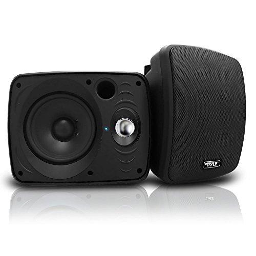Outdoor Waterproof Wireless Bluetooth Speaker - 6.5 Inch Pair 2-Way Weatherproof Wall/Ceiling Mounted Dual Speakers w/Heavy Duty Grill, Universal Mount, Patio, Indoor Use - Pyle PDWR64BTB (Black)