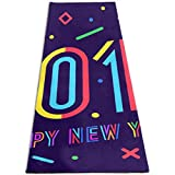 YYRR tapis de yoga Fitted Floor Mat 2019 Happy New Year Greeting Card Personalized Printing ThickNon-Slip Anti-Tear High Density Lightweight with Carrying Strap Storage Pockets Fitness Mat Fold