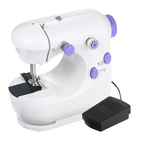 QHWJ Máquina de Coser eléctrica para el Principiante, Mini 2 Doble Velocidad del Hilo Herramienta de Coser eléctrica de la máquina de Coser Micro con luz LED