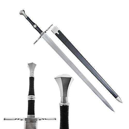 49' Medieval Sword Replica Two Hand Middle Ages Sword with Dull Blade and Scabbard. for Collection, LARP, Cosplay,Gift