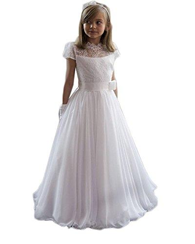 BetterGirl Mädchen Prinzessin Blumenmädchenkleider Brautjungfern Kleider für Hochzeit Kinderkleid Spitze Kommunionkleid Mit Kurzarm Partyskleid(Weiß,11-12 Jahre)