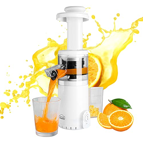 Slow Juicer, DEWINNER MINI Cold Press Masticating Juicer Machine,Quiet Motor with Reverse Function BPA Free, Compact Size Extractor