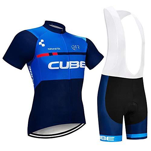 Maglia Ciclismo Uomo Manica Corta Abbigliamento Sportivo da Ciclismo con Pantaloni Ciclismo Salopette Asciugatura Rapida per MTB Ciclista