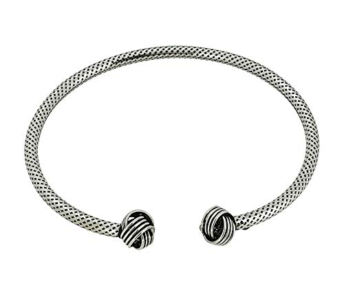 TreasureBay Bali Sterling Silver Bangle Bracelet for Women and Girls with Knots Details (Bali Style 2)