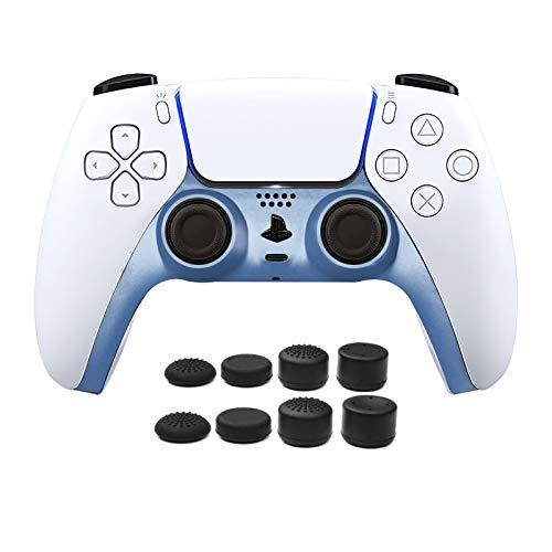 PS5 Controller Face Plate, Piastra Frontale per Controller PS5, Striscia Decorativa per Controller PS5 con 8pcs PRO FPS Joystick Thumb Grip para PS4/PS5 Controller - Azzurro