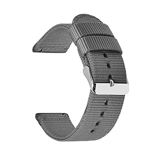 Correas De Reloj De Nylon 18 mm 20 mm 22 mm 24 mm Nylon Lienzo de la Correa Reloj de Reloj de Reloj 42mm 46mm Banda de Pulsera Correa Reloj (Band Color : Grey)