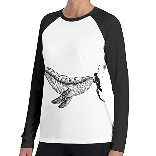 Ygoner Women's Long Sleeve T-Shirt Whale Diver When We Met Women's Personalized Baseball Raglan Long Sleeves T Shirt