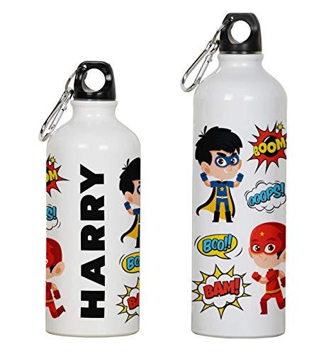 Printtoo Botella De Agua De Aluminio Súper Héroe Imprimir Botella Deportiva Personalizada Niños con Mosquetón 750ml/25.3oz