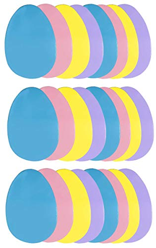 60 pcs Easter Foam Craft Shapes  Giant Egg Shaped Foam Sheets in Pastel Colors Blue Pink Purple Yellow Egg
