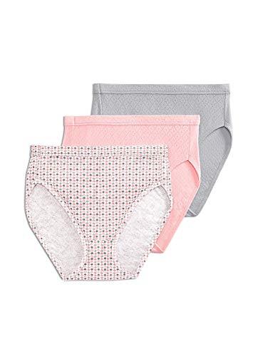 Jockey Women's Underwear Elance Breathe French Cut - 3 Pack, Silver Fox/Spotty Dot/Blushing Rose, 8