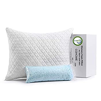 COHOME Queen Cooling Memory Foam Pillow Adjustable Cross-CutPremium Foam Hypoallergenic Soft Bamboo Derived Rayon Cover-Washable - CertiPUR-US - Pillow for Sleeping
