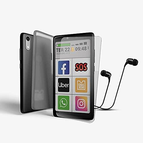 Kit Obasmart 3 32gb Fone + Capinha + Película - Smartphone com letras grandes Original Obabox