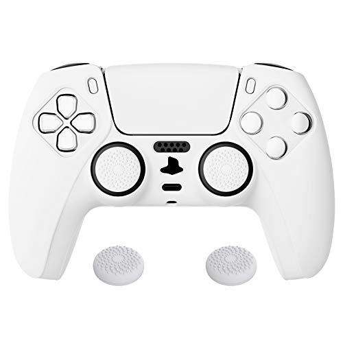 PlayVital Biała seria Pure antypoślizgowa silikonowa osłona do kontrolera Playstation 5, miękka gumowa obudowa do kontrolera PS5 DualSense bezprzewodowy kontroler z białymi nakładkami na kciuki
