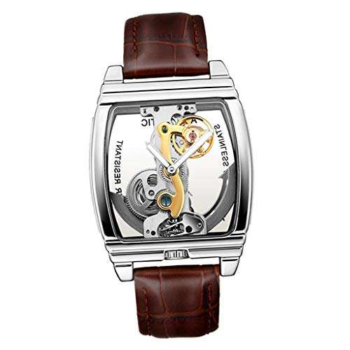 yotijar Reloj De Pulsera Tourbillon Mecánico Hombres, Impermeable Y Casual - marrón