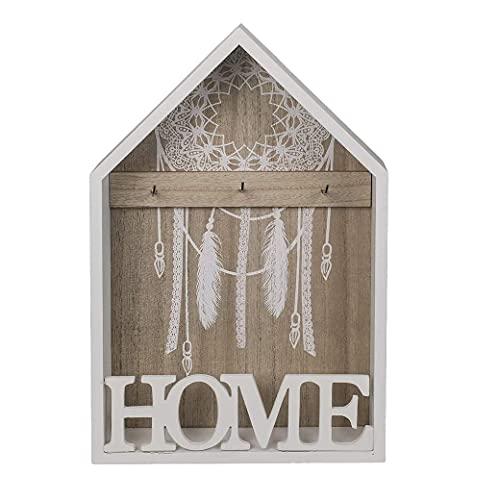 Mediawave Store - Caja de llaves de pared de madera blanca 20 x 5 x 30 cm con 3 ganchos para llaves, armario de pared para llaves de madera 144305