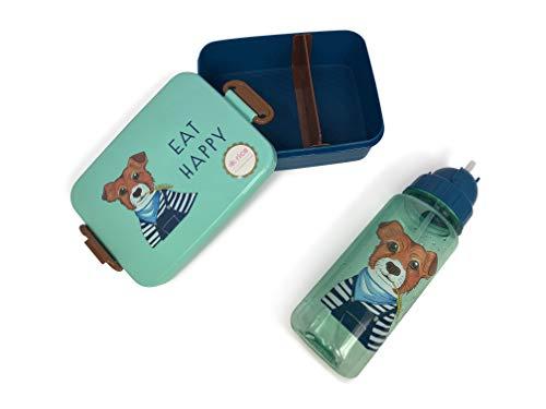 Rice Kinder SET Lunchbox mit Einteilung und Trinkflasche 500ml mit Tiermuster Blau