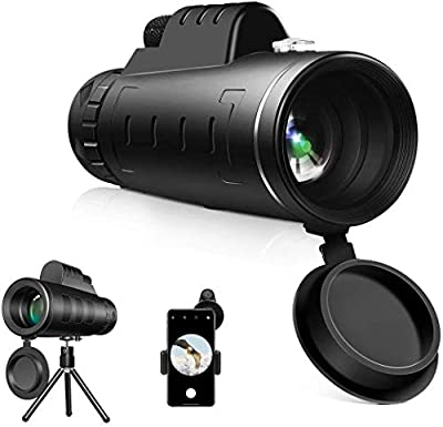 samiadat Monocular Telescope, 12X50 High Power HD Monocular with Smartphone Holder & Tripod - [Upgrade] Waterproof Monocular with Durable and Clea Focus for Bird Watching, Camping, Hiking