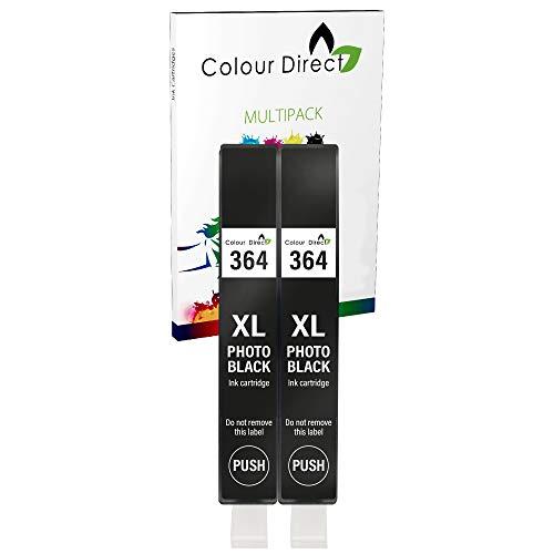 Colour Direct 2 x Photo Negro 364 XL Compatible Tinta Cartucho Reemplazo para HP Photosmart 5320, 5370, 5373, 5388, 5393, 6350, 6383, 7380. 7510, 7520, B8550, B8553, B8558, C5300, C5324, C5380, C5383, C5390, C6300, C6324, C6380, D5400, D5445, D5460, D5463, D5468, D7560