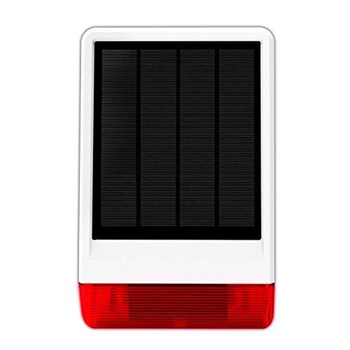 ERAY JD-W06 Sirena Solar Inalámbrica para Exteriores Impermeable 120db con Luz Flash, Compatible con el Sistema de Alarma ERAY WM3FX...