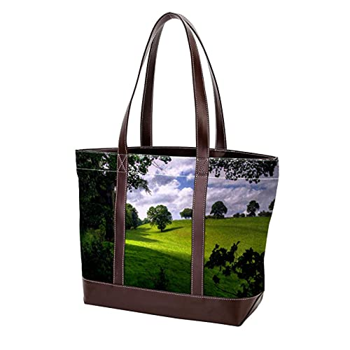 NaiiaN Bolso de compras, bolso de mano, bolsos de hombro, bolsos ligeros con correa para madres, mujeres, niñas, estudiantes, primavera, pastos, pradera