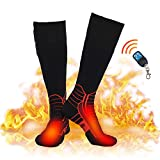 Dr.warm Wireless Heated Socks, Remote Control 2600mAh 7.4V Rechargeable Battery Thermal Foot Warmers Heating Sock for Cold Winter Men Women Kids, M