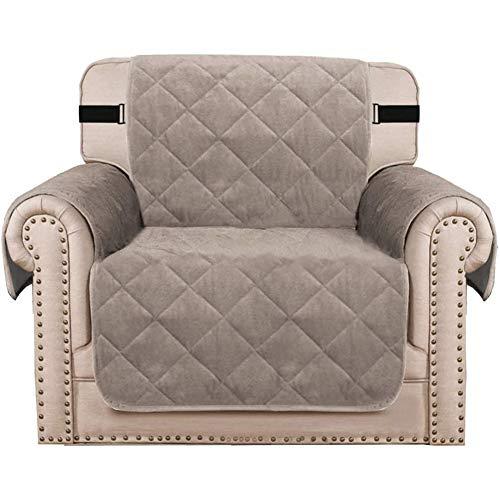 Funda de sofá de terciopelo, funda acolchada de terciopelo grueso, para sofá, funda protectora de mascotas, perro (Khaki, silla/1 plaza)