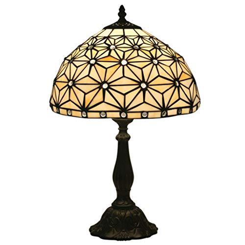 RENYAFEI Nachttisch Lampe Cremefarbene Glasmalerei Und Crystal Pearl Style Tischlampe Tiffany Style Handgemacht Für Wohnzimmer Antiker Couchtisch E27 (Ohne Lichtquelle)