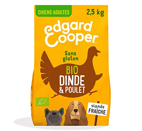 Edgard & Cooper Croquettes Chien Adulte 100% Biologique 7kg Nourriture Naturelle sans Gluten, Viande fraiche élevée en liberté, Alimentation Saine complète équilibrée (Dinde & Poulet Bio, 2.5 kg)