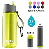 joypur Water Filter Bottle, BPA Free Water Purifier with 4-Stage Intergrated Filter Straw for Camping, Hiking, Travel Abroad, Emergency, Backpacking, Survival with Replaceable Filter, Yellow (1pack)