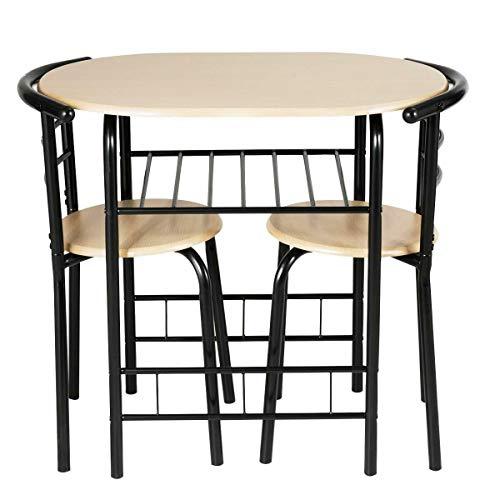 Kosoree 3tlg Essgruppe Tischgruppe Küche Esstisch Set Esszimmergarnitur Küchentischset (Color : Schwarz)