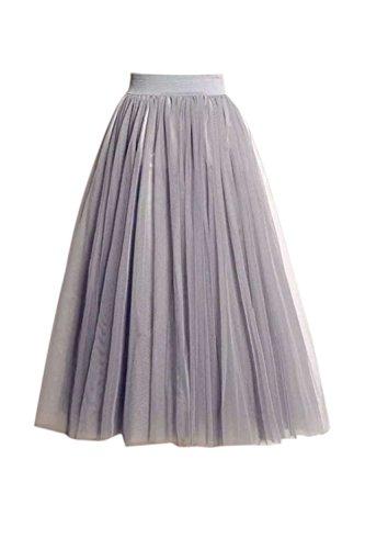 potente para casa Zonsaoja Falda de tul para mujer Traje de cintura elástica Midi Dance Tutu Gris Talla única