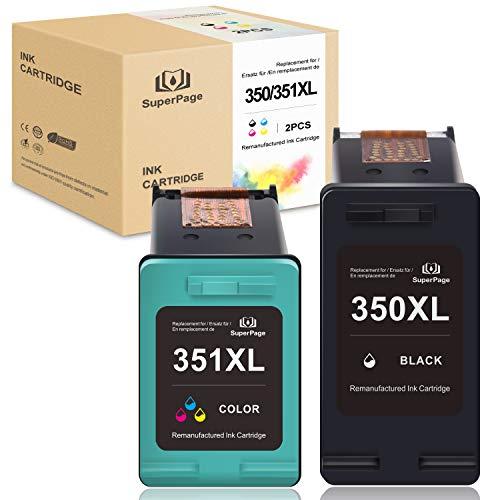 Superpage - Cartuchos de tinta reciclados 350XL 351XL para HP Photosmart C4385 C4410 C4400 C4424 C4435 C4440 C4450 C4470 C5580 D5345 D5355 D5360 Officejet J5785, color negro