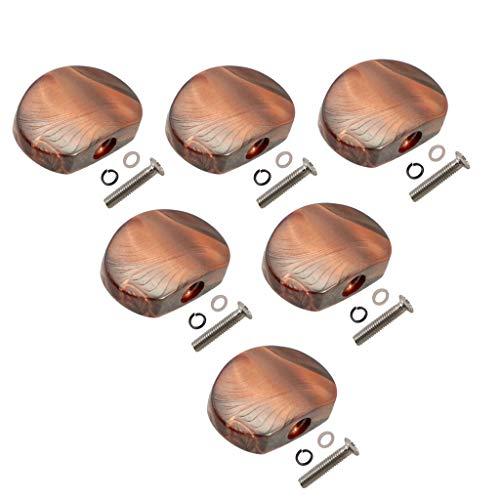 6 Pcs Gitarren Mechaniken Knöpfe Stimmwirbel Button Ersatzknöpfe mit Schrauben und Dichtungen, Gitarrenzubehör