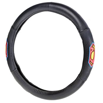 BDK Superman Classic Blue/Red Logo Black Leather Rubber Grip Steering Wheel Cover for Car & SUV Universal Size 14.5 15 15.5 in.