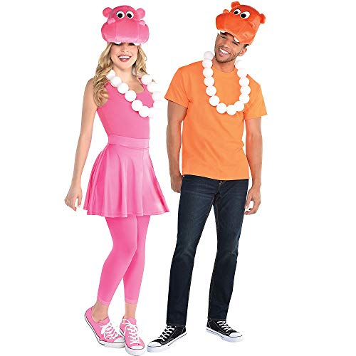 Party City Pink and Orange Hippo Halloween Costume Accessory Kit for Adults, Hungry Hungry Hippos, Standard Size