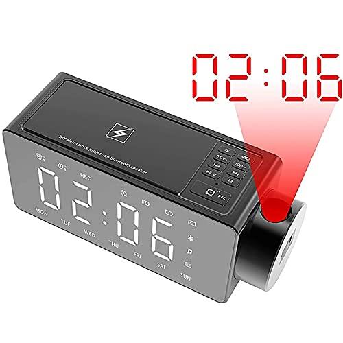 OYZY Reloj Despertador De Proyección, Altavoz Bluetooth De Espejo Completo con Carga Inalámbrica,Tono De Llamada De Bricolaje,Repetición De Alarma con Un Clic,Radio FM,Batería Incorporada De 2000MAh