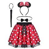 TiaoBug Mädchen Kostüm Set Mini Polka Dots Rock + Fliege + Haarreifen mit Maus Ohren Schleife + Schwanz Karneval Weihnachten Party Outfit Rot weiß Punkte 104-116