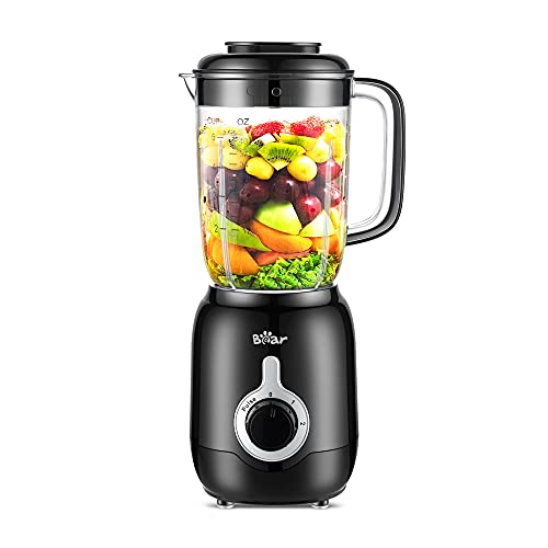 Bear Countertop Blender, 700W Professional Smoothie Blender with 40oz Blender Cup for Shakes and Smoothies, 3-Speed for Crushing Ice, Puree and Frozen Fruit with Autonomous Clean