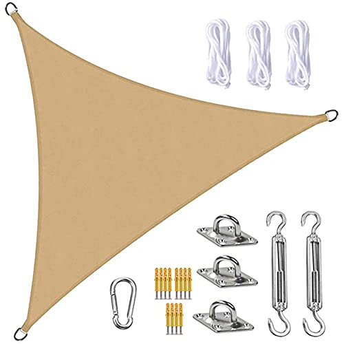 QYQS Triangle Sun Shade Sail, Block UV Resistente A La Intemperie Sun Shade Spail, con Kit de Fijación para Jardín, Patio, Piscina, área de Barbacoa, Arena Amarilla(Size:2X2X2m/6.6X6.6X6.6ft)
