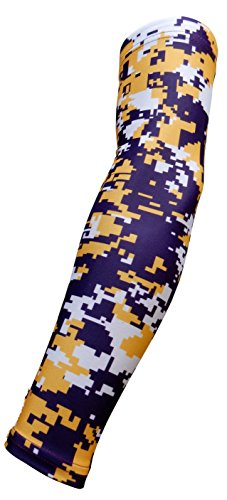Sports Farm New! Moisture Wicking Compression Arm Sleeve (Purple Yellow Digital Camo, Small)