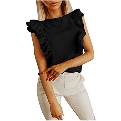 2021 Nuevo Camiseta de Mujer, Verano Moda Volante Manga Corta Elegante Blusa Camisa Cuello Redondo Color sólido Camiseta Casual Basic Suelto Tops Fiesta T-Shirt Original tee Ropa de Mujer