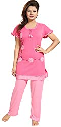 Noty - Womens/Girls 2 Pcs Hosiery Cotton Night Suit/Night Wear/Night Dress - Top with Bottoms