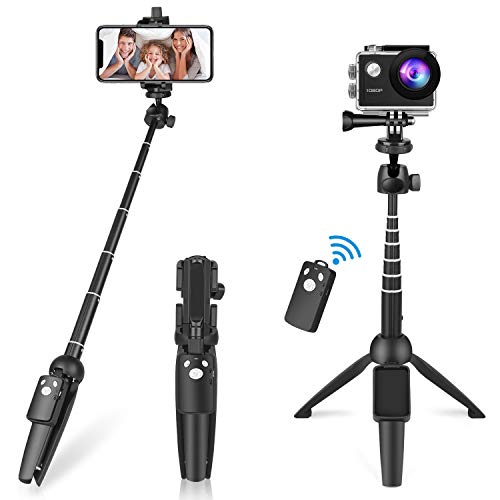 Selfie Stick Tripod, 40 inch Portable Extendable All in One Selfie Stick with Bluetooth Wireless Remote, Compatible with iPhone 11/11 Pro/XS Max/XR/X/8 Plus, Galaxy S9/Note 8, Gopro & Android Devices