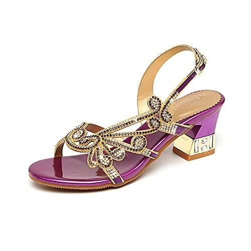 BLANSHAN Sandalias de Diamantes de imitación Zapatos de Vestir Sandalias de tacón...